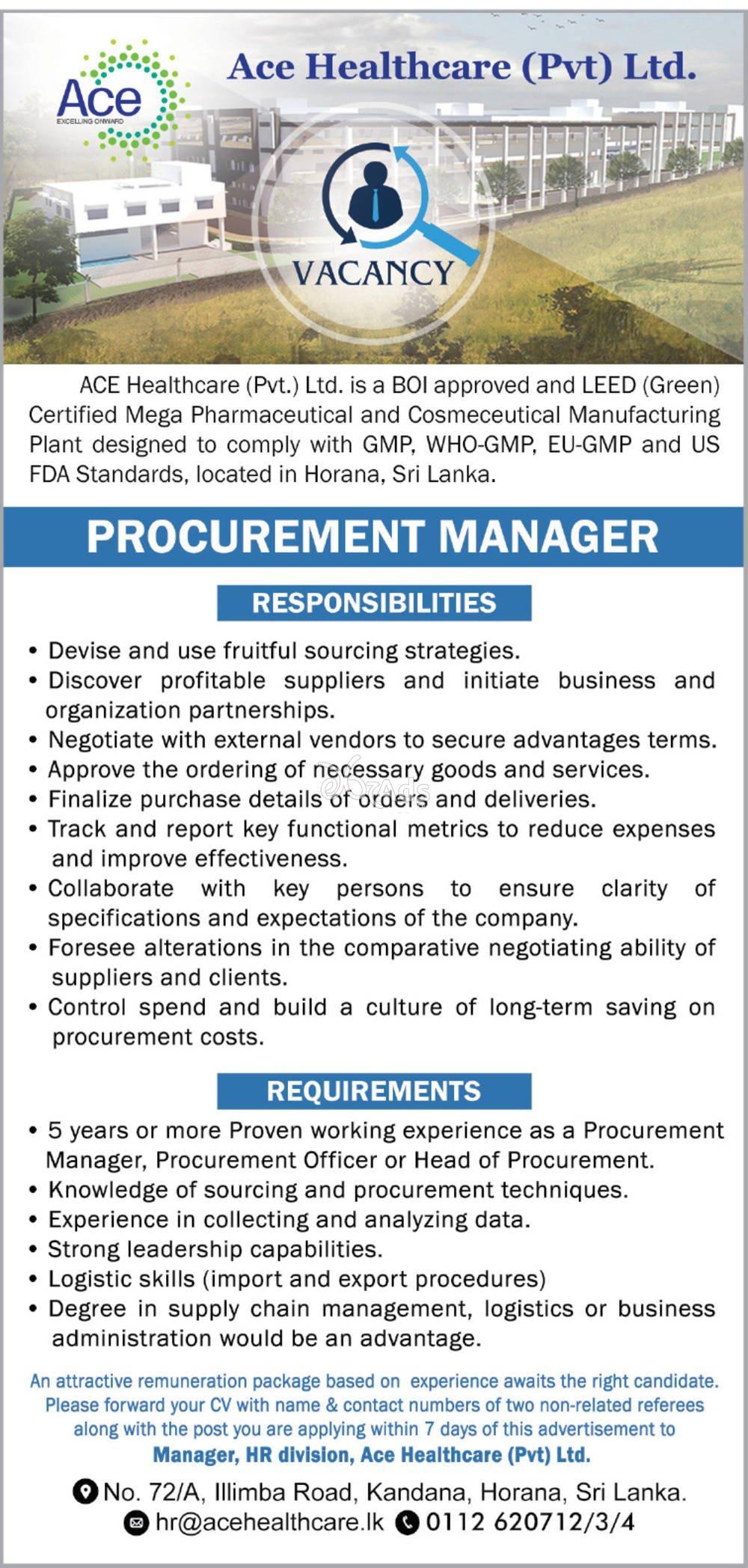 Procurement Manager - ACE Healthcare (Pvt) Ltd