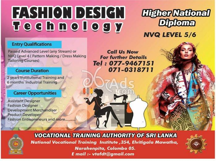 Hnd In Fashion Designing At Vocational Training Authority Of Sri Lanka Colombo 05