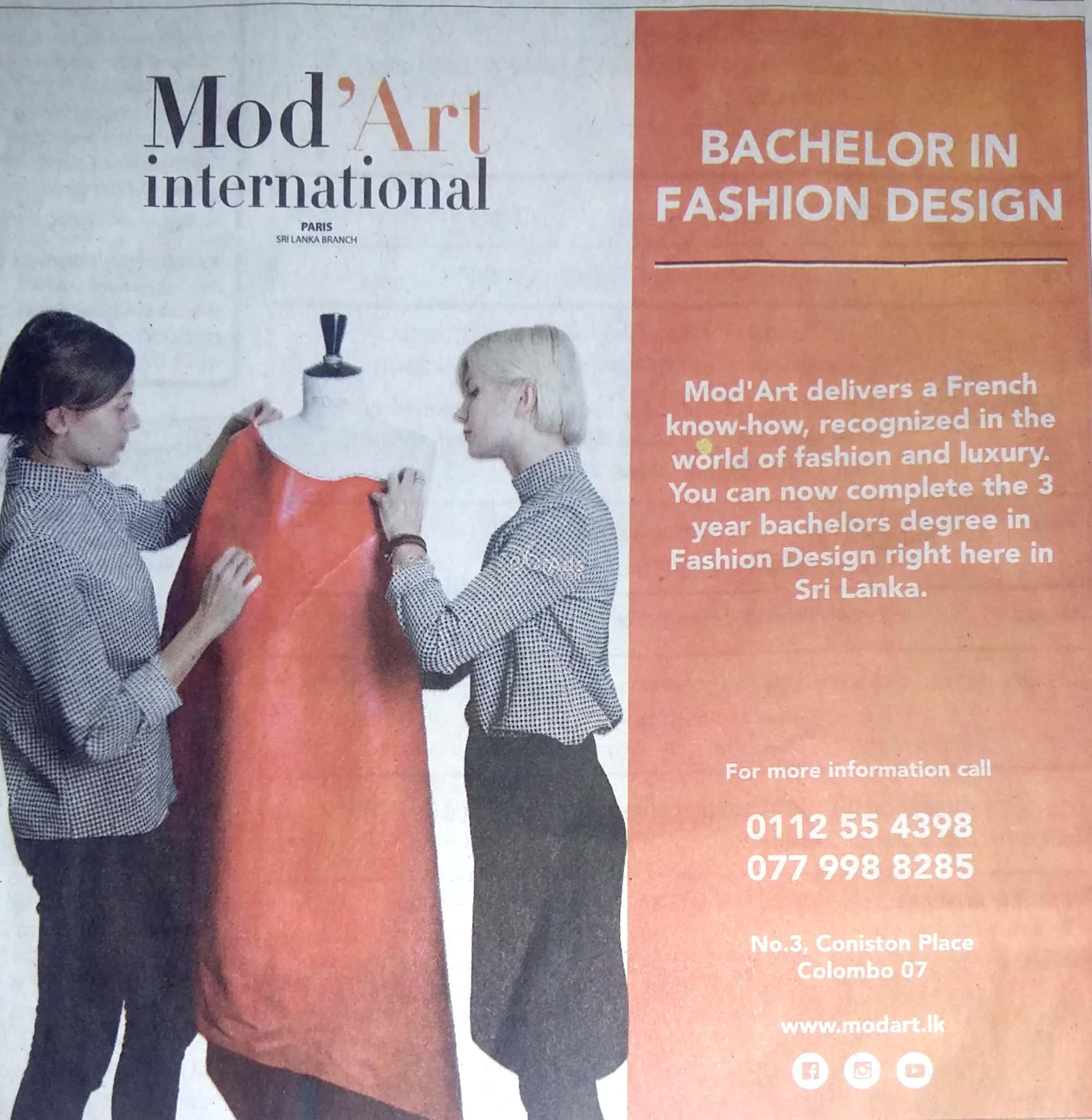 Bachelor Degree In Fashion Design At Mod Art International Paris Fashion School Colombo 07